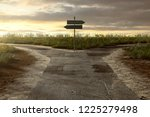 crossroads with signpost  3d... | Shutterstock . vector #1225279498