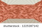 empty room with brick walls and ... | Shutterstock .eps vector #1225287142