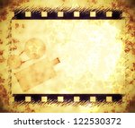 old film strip frame and movie... | Shutterstock . vector #122530372