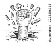 human fist crash wall engraving ... | Shutterstock . vector #1225306315