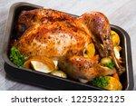 garnished turkey. rub turkey... | Shutterstock . vector #1225322125