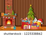 christmas interior of room with ... | Shutterstock .eps vector #1225338862