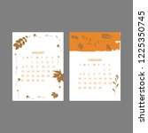 floral 2019 calendar. yearly... | Shutterstock .eps vector #1225350745