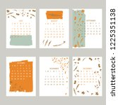 floral 2019 calendar. yearly... | Shutterstock .eps vector #1225351138