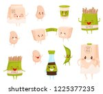 flat vector set of soy products ... | Shutterstock .eps vector #1225377235