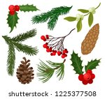 flat vector set of christmas... | Shutterstock .eps vector #1225377508