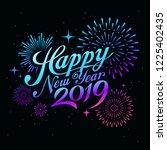 happy new year 2019 message... | Shutterstock .eps vector #1225402435