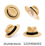 Set Straw Hats An Isolated - Fine Art prints
