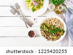 diet menu. healthy vegetarian... | Shutterstock . vector #1225420255