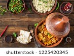 traditional tajine dishes ... | Shutterstock . vector #1225420345