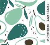 doodle avocado vector seamless... | Shutterstock .eps vector #1225433368