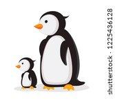 mother penguin and baby penguin | Shutterstock .eps vector #1225436128