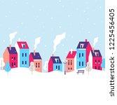winter cityscape. snowy street... | Shutterstock .eps vector #1225456405