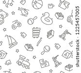 seamless pattern with baby toys.... | Shutterstock .eps vector #1225457005
