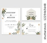modern floral wedding invitation | Shutterstock .eps vector #1225465648