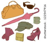 hand drawn clothes set in retro ... | Shutterstock .eps vector #122547916