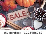autumn sale sign greeting card...   Shutterstock . vector #1225486762