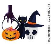halloween black cat with... | Shutterstock .eps vector #1225487245