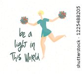 card with cheerleader and quote ... | Shutterstock .eps vector #1225488205