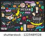 chalkboard kitchen art ... | Shutterstock .eps vector #1225489528