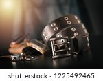 rock style leather belt for men.... | Shutterstock . vector #1225492465