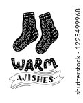 warm woolen knitted socks with... | Shutterstock .eps vector #1225499968
