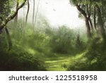 Forest Illustration Of Cloudy...