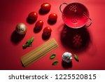 seeing red   making pasta sauce.... | Shutterstock . vector #1225520815
