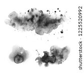 black watercolor stains on a... | Shutterstock . vector #1225520992