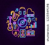 music sound neon concept.... | Shutterstock .eps vector #1225549198
