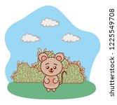 bear in bushy landscape cartoon | Shutterstock .eps vector #1225549708