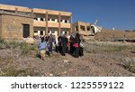 school destroyed by the arab... | Shutterstock . vector #1225559122