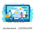 discussion of current tasks by... | Shutterstock .eps vector #1225561495