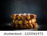 homemade belgian waffles with...   Shutterstock . vector #1225561972