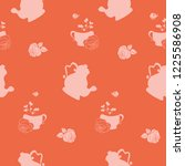 vector red vintage teacup and... | Shutterstock .eps vector #1225586908