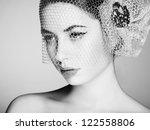 Beautiful woman face. Perfect makeup. Beauty fashion. Black and white photo - stock photo