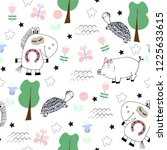 cute seamless pattern with... | Shutterstock .eps vector #1225633615