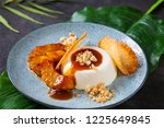 panna cotta with caramelised... | Shutterstock . vector #1225649845