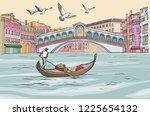 Venecia Cityscape View. Gondol...