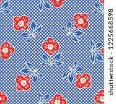 1950s style retro daisy polka... | Shutterstock .eps vector #1225668598
