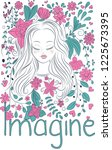 fantasy flowers and doodle girl ... | Shutterstock .eps vector #1225673395