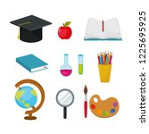 set graduate cap with apple and ... | Shutterstock .eps vector #1225695925