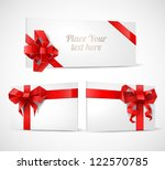 gift cards with origami bows... | Shutterstock .eps vector #122570785