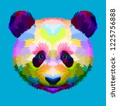 colorful panda head on... | Shutterstock .eps vector #1225756888