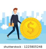 businessman with coin money | Shutterstock .eps vector #1225805248