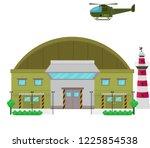 military base camp flat design... | Shutterstock .eps vector #1225854538