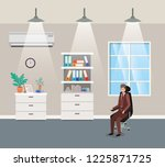 corridor office with...   Shutterstock .eps vector #1225871725