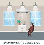 corridor office with...   Shutterstock .eps vector #1225871728