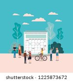 mini people with calendar... | Shutterstock .eps vector #1225873672