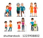 caring disabled person.... | Shutterstock . vector #1225908802